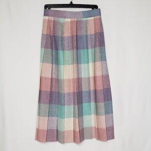 Vintage Pleated Wool Midi Skirt